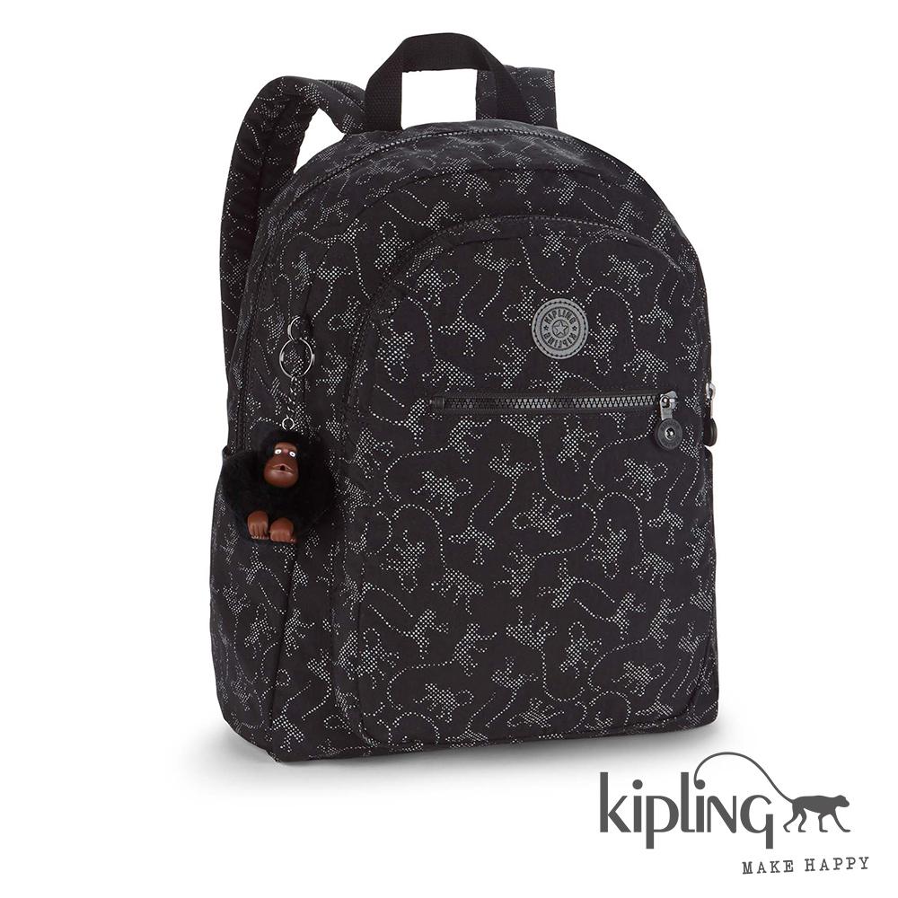 Kipling後背包經典猴紋編織印花