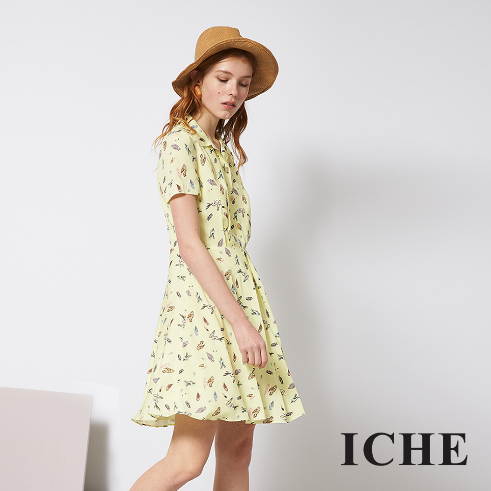 ICHE 衣哲 微甜時尚印花嫩黃造型襯衫洋裝