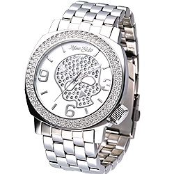 MARC ECKO 嘻皮龐克晶鑽骷髏鋼帶腕錶-銀/46mm