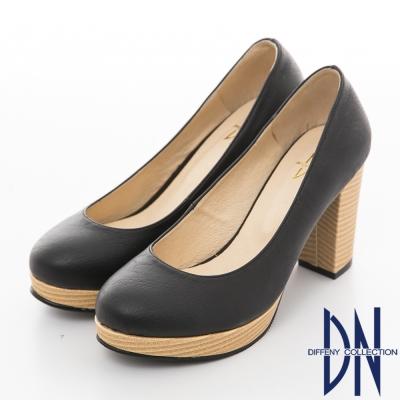 DN-自在漫步-復古百搭素面粗跟鞋-黑