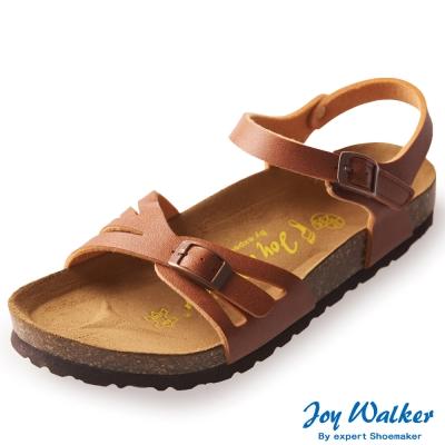Joy Walker 繽紛色彩一片式平底涼鞋*駝色