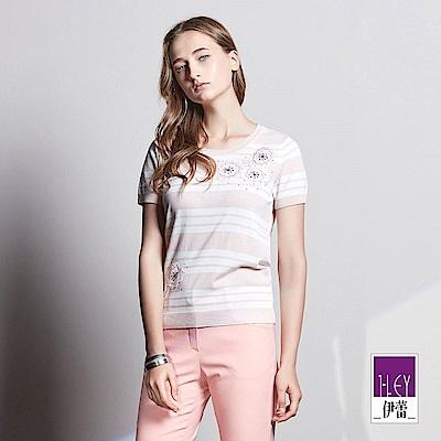 ILEY伊蕾 甜美條紋針織上衣魅力價商品(粉/黃)