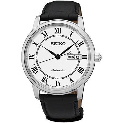 SEIKO精工 Presage 羅馬經典機械腕錶(SRP761J2)-白/40mm