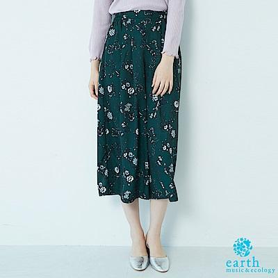 earth music 花柄圖案打印寬褲