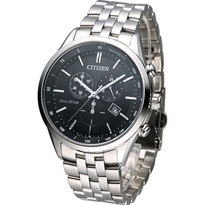 CITIZEN Eco-Drive 科技百搭計時腕錶(AT2140-55E)-黑/42mm