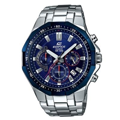 EDIFICE科技運動風格動感藍色系多角切賽車腕錶(EFR-554RR-2)藍47.2mm