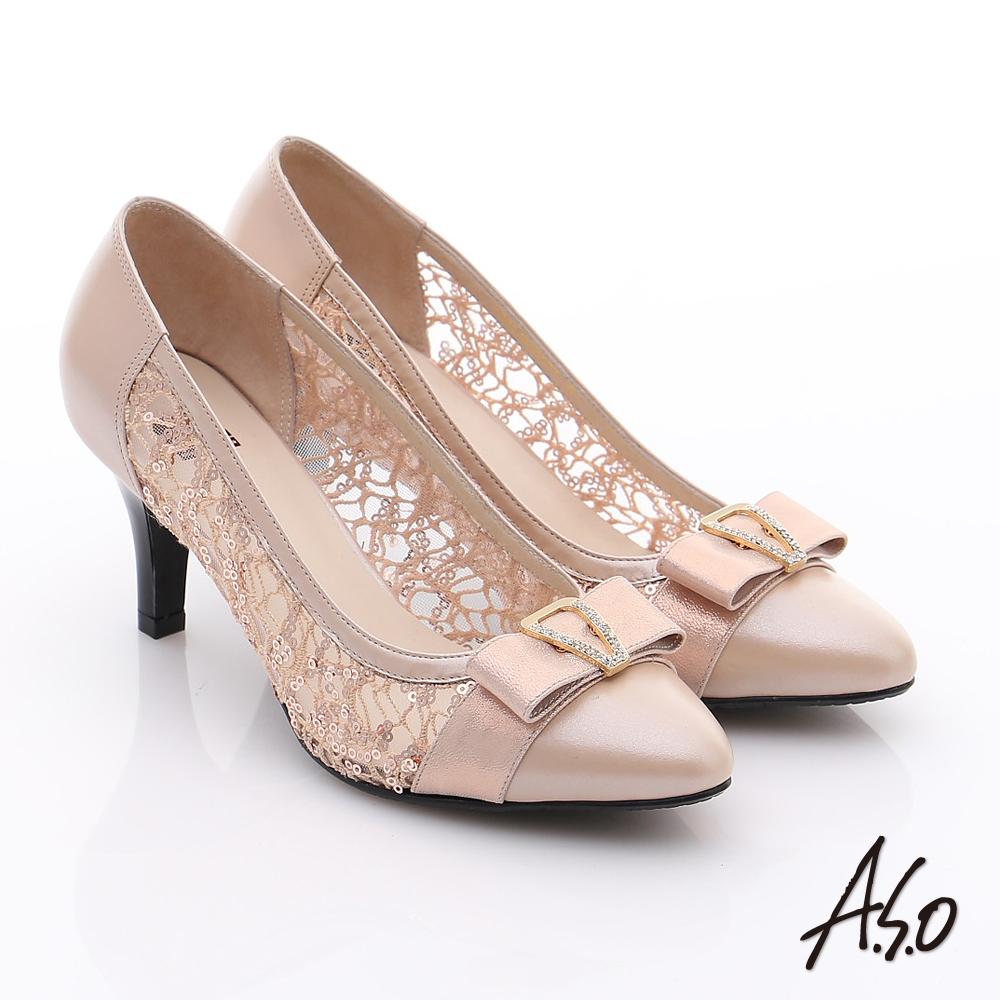 A.S.O 法式浪漫 牛皮拼接蕾絲布蝴蝶結鑽飾高跟鞋 粉橘