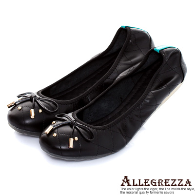 ALLEGREZZA-真皮彈性膠底羊皮娃娃鞋-黑