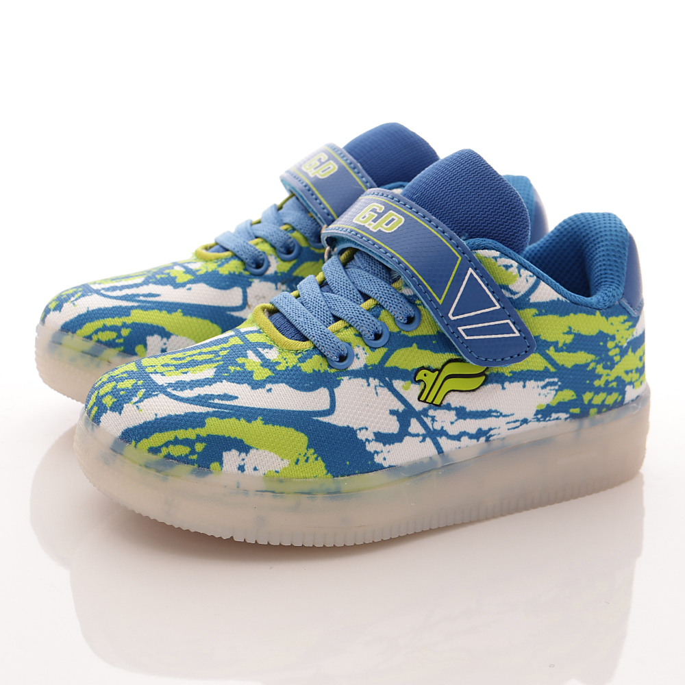 GP運動鞋-LED炫光運動鞋-FI790B26藍綠中小童段HN