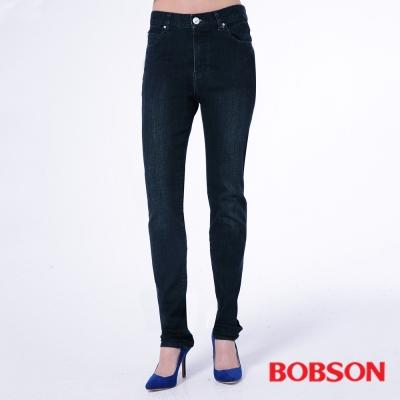 BOBSON   女款保暖膠原蛋白小直筒褲-藍色