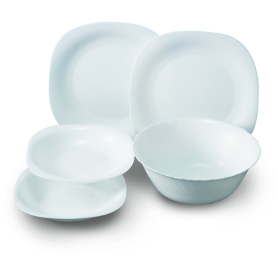 法國樂美雅純白5件式餐具組(4盤1湯碗)