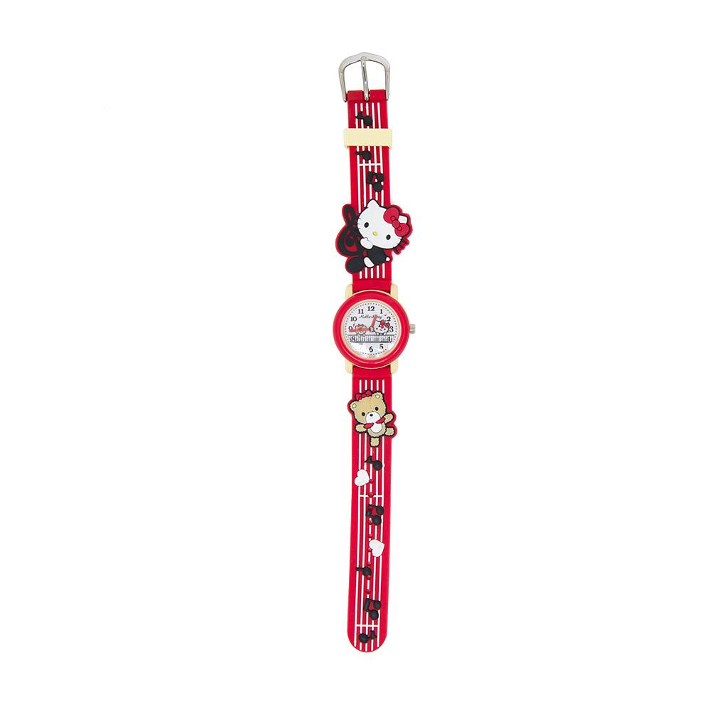 Sanrio HELLO KITTY紅色矽膠錶帶兒童手錶快樂音符