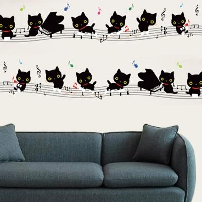 E-021手繪動物系列-黑貓鋼琴音符 大尺寸高級創意壁貼 / 牆貼