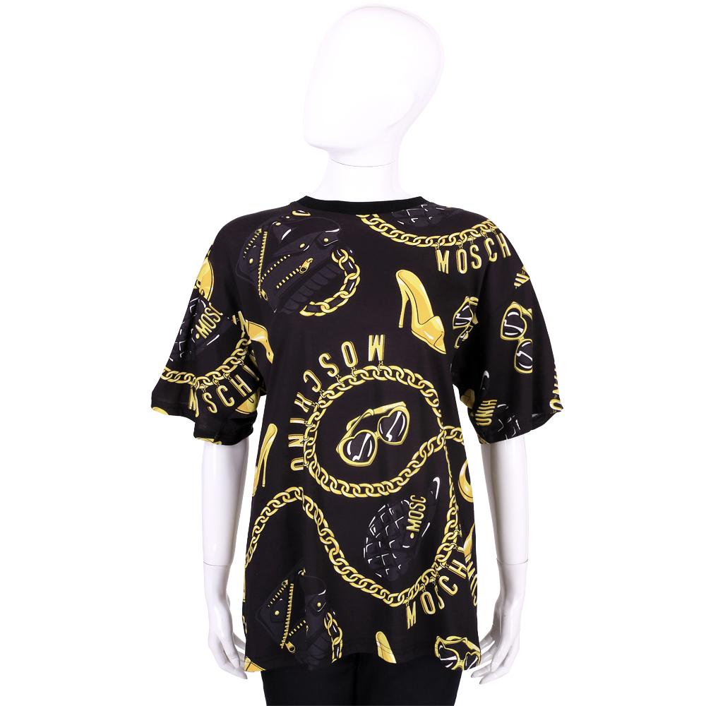 MOSCHINO SMILEY 黑x金色品牌鍊飾圖印五分袖上衣