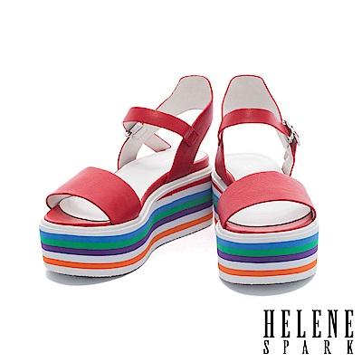涼鞋 HELENE SPARK 活潑一字帶多彩層次厚底牛皮繫帶涼鞋-紅