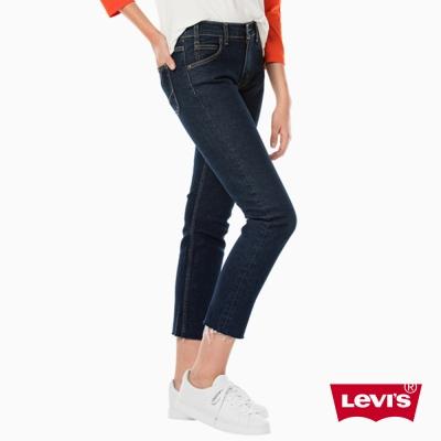 牛仔褲 高腰九分褲 復古橘標 特殊後口袋縫線 不收邊褲腳 - Levis