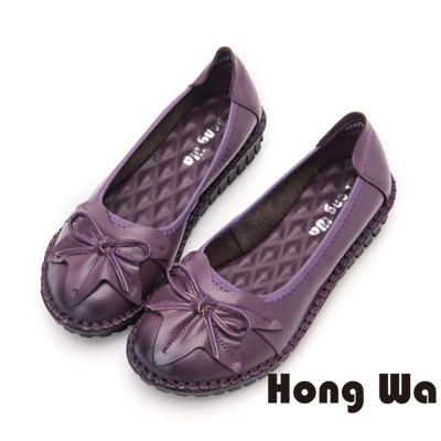 Hong Wa 荷葉款舒適牛皮厚底包鞋- 紫