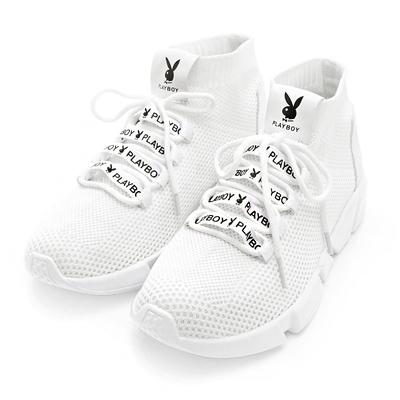 PLAYBOY 個性世代 彈力輕量襪套休閒鞋-白