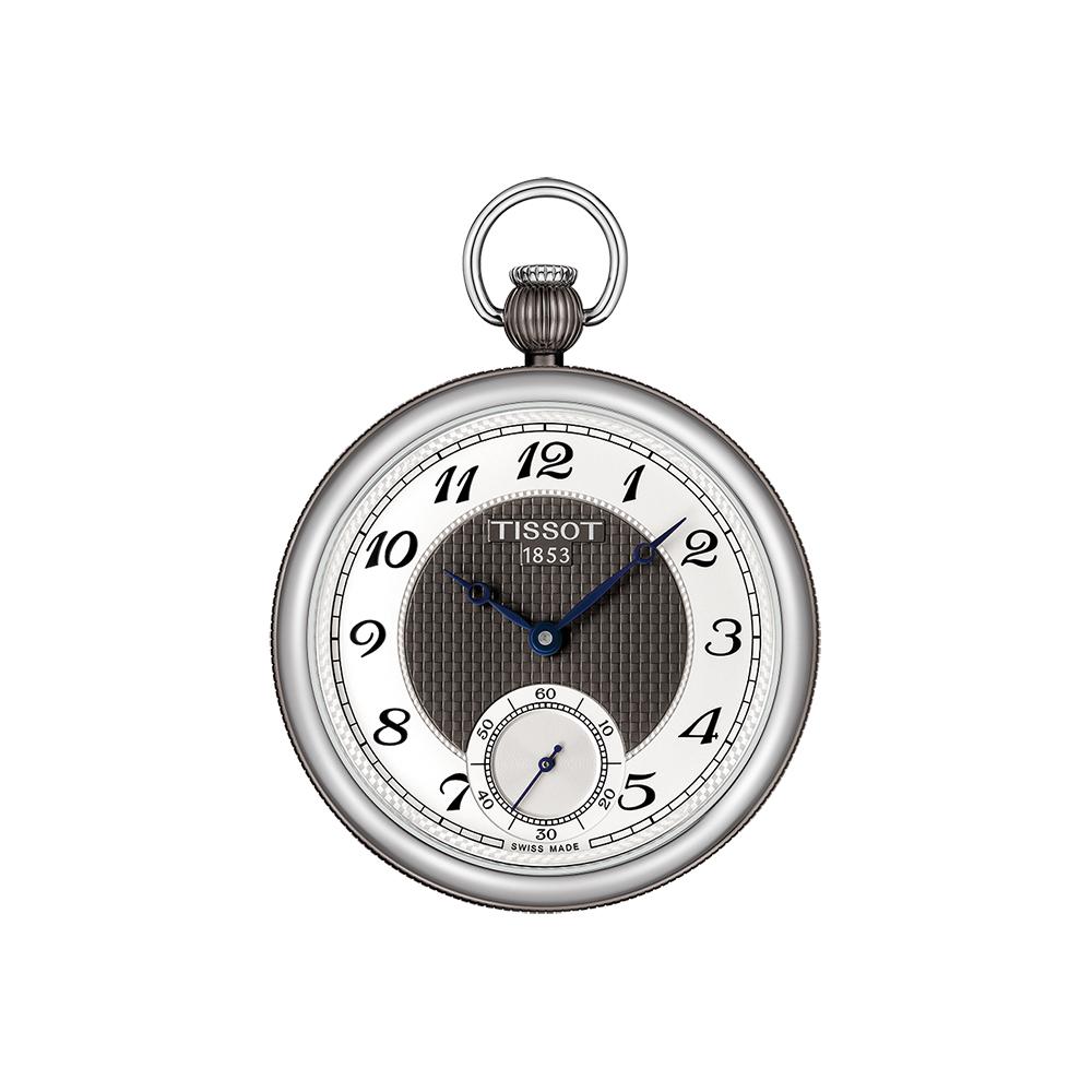 TISSOT 天梭 小秒針無蓋式機械懷錶(附鍊)-銀x黑/45mm @ Y!購物