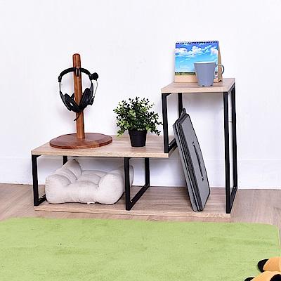 凱堡 工業風L型活動置物架 可推疊層架 書架 電視櫃架 1入組 90x39x56cm