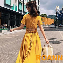 素面V領短袖露背洋裝 (共二色)-ROANN