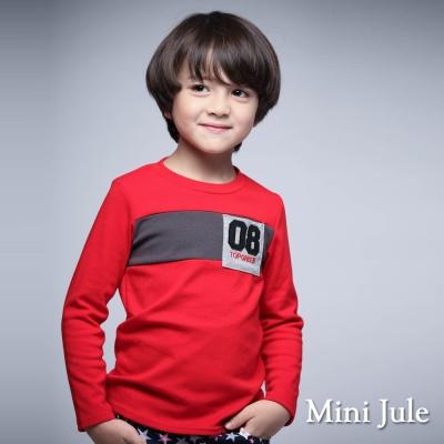 Mini Jule 童裝-上衣 數字8單口袋拼接長袖T恤(紅)