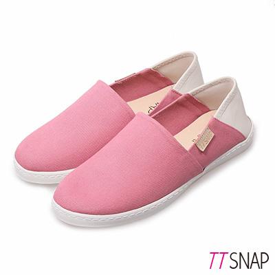 TTSNAP懶人鞋-MIT兩穿2WAY帆布真皮休閒鞋 粉