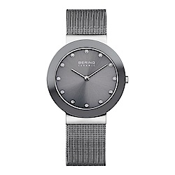 BERING丹麥精品手錶 晶鑽刻度米蘭帶陶瓷錶面 深灰35mm