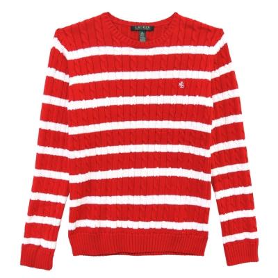 Ralph Lauren 字母刺繡麻花圓領針織女衫(紅白)