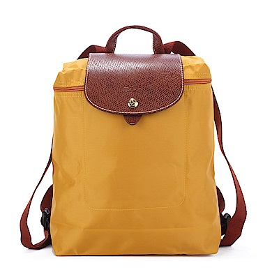Longchamp Le Piage拉鍊尼龍後背包-澄黃色