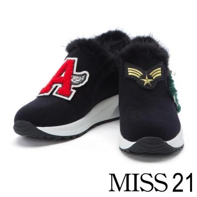 休閒鞋 MISS 21 街頭塗鴉風可拆式活動個性貼布貂毛厚底休閒鞋 – 黑