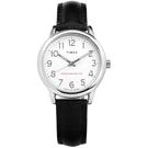 TIMEX 天美時 專利冷光照明 數字時標 壓紋真皮手錶-白x黑/30mm