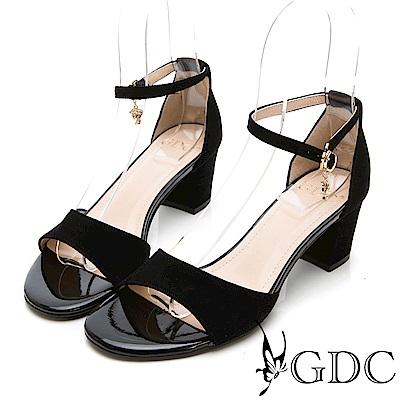 GDC-氣質高雅羊絨一字繞帶低跟涼鞋-黑色