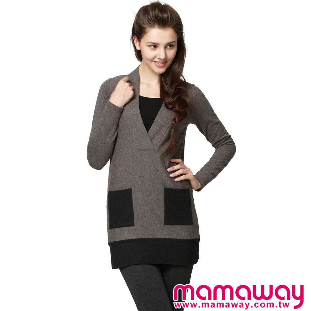 【Mamaway】內刷毛深V疊領長版哺乳衣