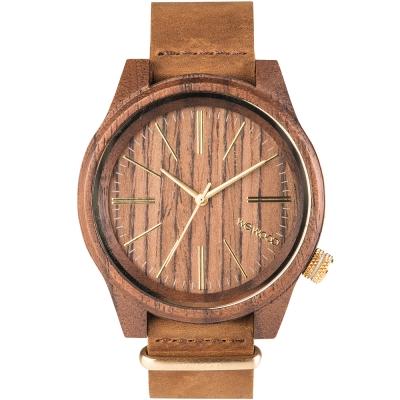 WEWOOD 義大利柔軟手工皮錶帶木頭錶 TORPEDO NUT LEATHER-45mm