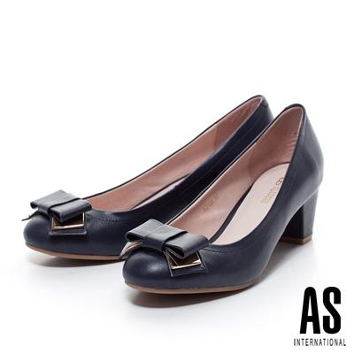 AS-金屬飾片蝴蝶結粗跟鞋-藍