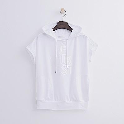 Hang Ten - 女裝 - ThermoContro印字連帽T恤-白色