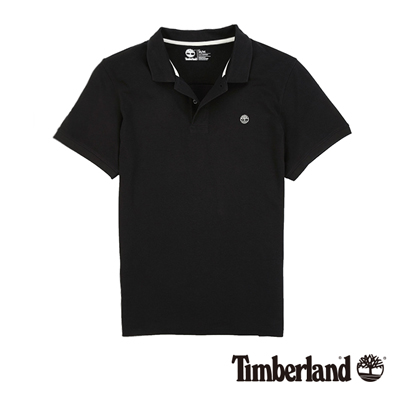 Timberland-男款黑色素面刺繡短袖POLO衫
