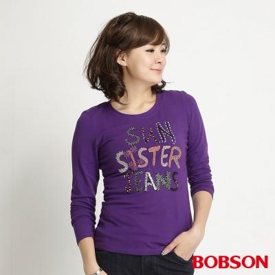 BOBSON 女款彩珠長袖上衣(紫63)