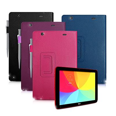 LG G tablet 10.1 V700 支架磁扣荔枝紋 書本式保護套