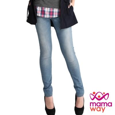 【Mamaway】孕期窄管潑漆牛仔褲(刷白藍)