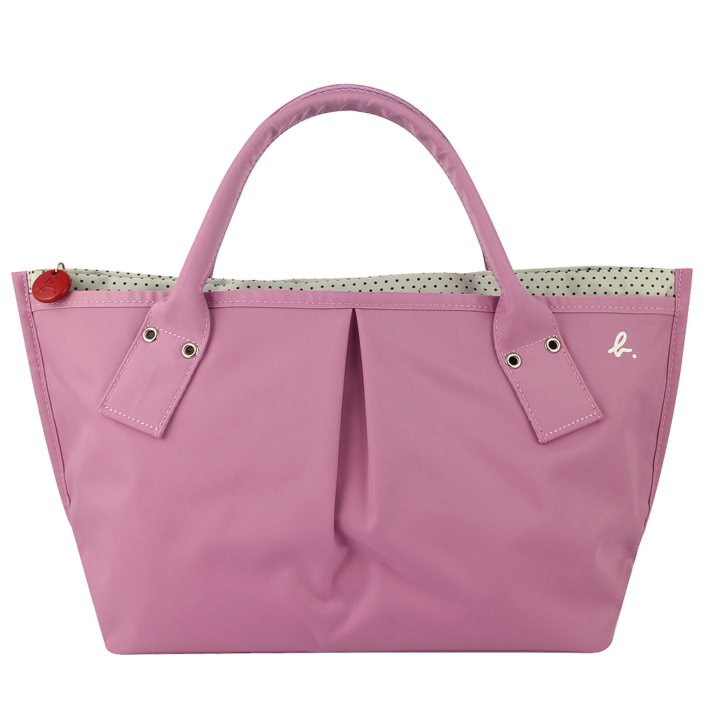 agnes b.櫻花粉色點點白色內裡水餃包小日本製