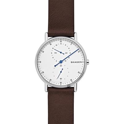Skagen Signature 北歐時尚單針手錶-白x/咖啡色40mm
