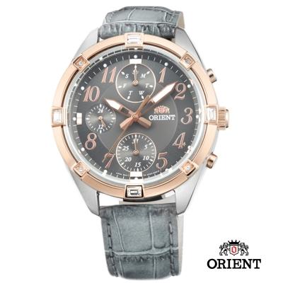 ORIENT 東方錶 SPORTY DESIGN系列 運動三眼計時錶-灰色/38.5mm
