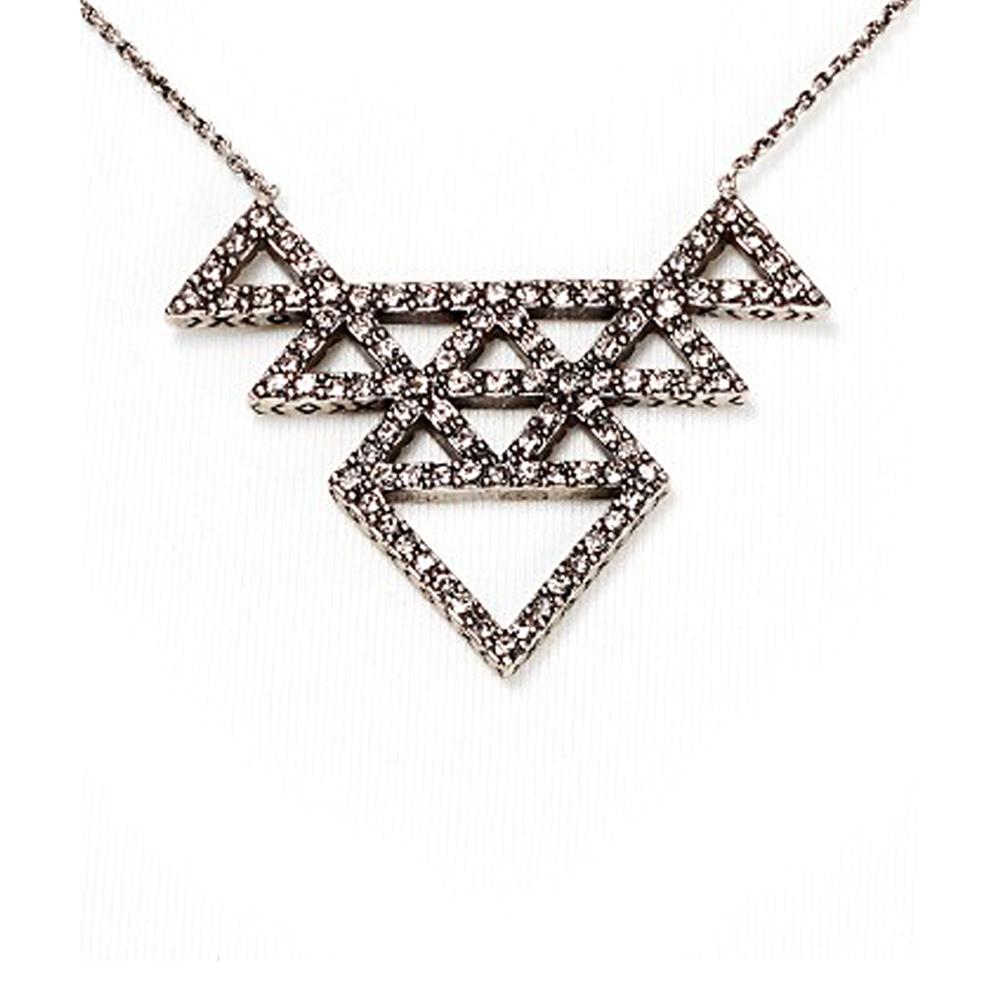 House of Harlow 1960 密鑲水晶多層三角形 部落風銀色項鍊 可雙面配戴