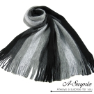 A-Surpriz 時尚型男多色條紋毛線針織圍巾(雅痞黑)