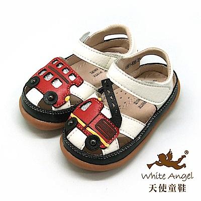 天使童鞋 小小救護隊護趾涼鞋(小-中童)i862-白
