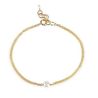 Dogeared 美國品牌 白色珍珠 金色雙鍊手鍊