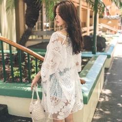 La Belleza網紗刺繡太陽花透視雕花百搭蕾絲罩衫外套