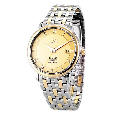 OMEGA 歐米茄 DE VILLE 羅馬18K金經典機械錶-36.5mm